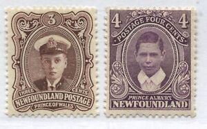 Newfoundland 1911 Royal Family 3 and 4 cents mint o.g. hinged
