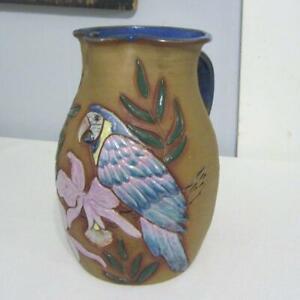 A&A Pottery, Cotopaxi, Colo. Pitcher - Blue Parrot, Pink Orchids
