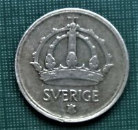 SWEDEN 1946 or 1 9 4 6 Ten Ore 1 0 Cent 40 % SILVER Closed 6 TS 1 Coin LOW SHIP