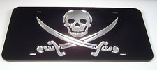 Calico Jack Pirate Flag skull mirror laser cut acrylic license plate inlaid