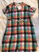 A35 New Ingrid & Isabel Maternity Plaid  Tie Waist Shirt Dress Orange/Green S
