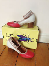 NWT Fly London Bely Women's Court Shoes Scarlet/Off-White Size EU 36