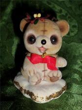 Josef Originals Fuzzy Wazzy Flocked Bear Figurine George Good Ornament Hang Bear