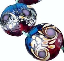 Lampwork Handmade Glass Peacock Swirls Moonlight Lentil Beads 18mm