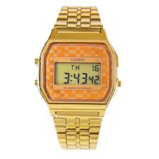 Casio Uomo Orologio Watch Man Uhr A159WG-9DF Digitale Quadretti Arancioni Crono