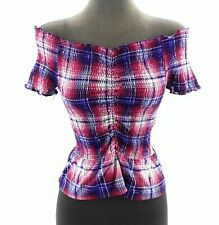 Almost Famous Juniors Top Off The Shoulder Red White Blue Plaid Stretch Size M