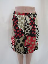 MOSCHINO Cheap and Chic Red Black White Beige Silk Blend Polka Dot Skirt Size 8