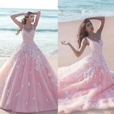 New Beach Applique Pink Flowers A Line Wedding Dress Bridal Gown Custom all Size