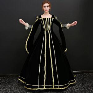 Women Victorian Dress Costume Queen Medieval Renaissance Velvet Gown Halloween