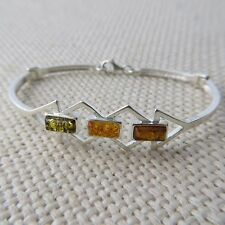 Genuine Multi-Color BALTIC AMBER Bangle in solid 925 STERLING SILVER #0052
