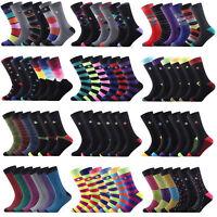 12 Pairs Men's Designer Socks Cotton Multi Color Suit Work Office Footwear 6-11