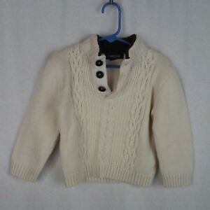 Cherokee boys sweater Size 4T Ecru cream Cotton Cables 3-button Fake fur collar