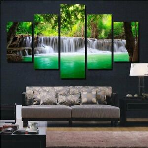 Unframed Waterfall Canvas Painting Picture Print Wall Art Home Living Room Decor