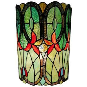 2-Light Tiffany Style Stained Glass Green Blue Wall Sconce by Amora Lighting