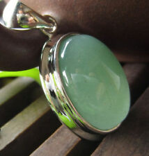 Fashion Jewelry Natural Green Jade Oval Gemstone Necklace Pendant