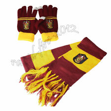 2pcs Harry Potter Gryffindor House Scarf + Gloves Soft Warm Costume Xmas Gift