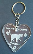 Personalised memorial pet cat keyring heart hand made engraved