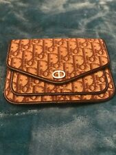 LADIES CHRISTIAN DIOR VINTAGE 70'S MONOGRAM BROWN & TAN BAG/CLUTCH /PURSE