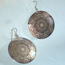 """Light Disk Floral Etch Design Silver NEW Dangle Earrings 1 1/2"""" Wires USA SELLER"""