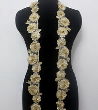 1 Yard Flower Embroidery Corded Gold Metallic Beaded Sequins Lace Applique/Patch