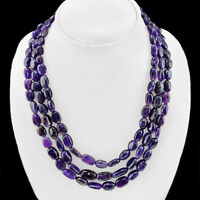 TOP GRADE 541.00 CTS NATURAL 3 LINE BOLIVIAN AMETHYST OVAL BEADS NECKLACE (DG)