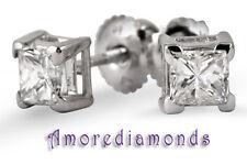 1.37 ct I SI1 natural princes cut diamond solitaire stud earrings vtip 18k gold