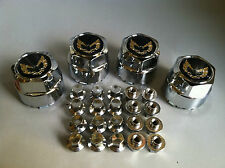 77-81 FIREBIRD TA SNOWFLAKE CHROME CENTER CAPS & LUG NUTS SET GOLD BIRD 608m 716