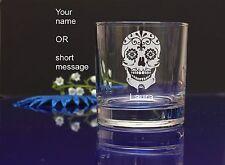 Personalised SUGAR SKULL engraved whiskey glass for Birthday, Christmas gift 138