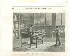 Tour du potier Tournassage des Poteries Atelier GRAVURE ANTIQUE OLD PRINT 1877
