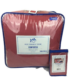 Southern Tide Skipjack Chino Twin Charleston Red Comforter with 1 Standard Sham