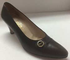 Brown Ferragamo High Heels Pumps With Button Stud Women's 8.5 AAA