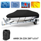 20-22Ft 600D Waterproof Trailerable Boat Cover V-hull Fish Ski Bass Black