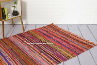 ORANGE COLOR CHINDI AREA FAIR TRADE RAG RUG LOOMED COTTON RECYCLE MAT 105X170CM