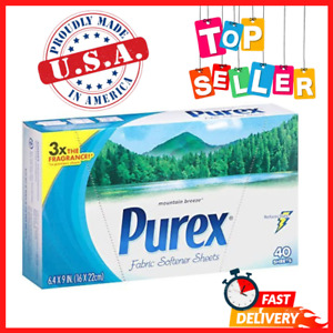 Purex Fabric Softener Dryer Sheets, Mountain Breeze, 40 Count - FREE SHIPPING US