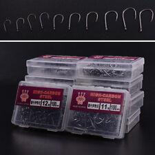 1000Pcs 10 Size Perforated Hooks Box Fishing Sharpened Hook Lure Tackle Bait