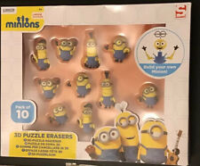 3D Minions Puzzle Erasers/Rubbers, Pack of 10, Sambro