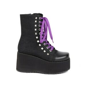 Women 46 47 48 Ankle Boots Wedge High Heel Punk Creepers Platform Shoes Comfy L