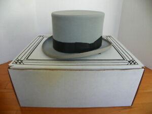 SELENTINO ACTION MEN'S GRAY 100% FUR FELT TOP HAT W/ BOX, 7 1/4,  5 1/2,  58
