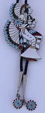 HUGE Zuni, Native American Nickel silver, gem inlay dancing Kachina bolo tie