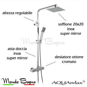 colonna doccia termostatica AQUArelax ISLA Q tmix soffione 20x20 cm acciaio inox