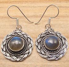 Blue Shade LABRADORITE Stone Earrings ! Silver Plated ARTISAN Jewelry HANDMADE