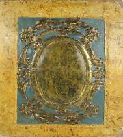 F1-002. FRAGMENT D AUTEL. BOIS POLYCHROME ET DORE. XVIII-XIX SIÈCLE