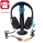 New Black 5 in 1 Wireless Headphone Earphone for MP3 MP4 PC Laptop TV FM Radio R