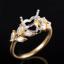 Solid 14K Gold Natural Diamond Semi Mount Wedding Ring Setting Heart Cut 8×8mm