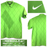 Nike Fit Dry Mens XL Bright Green Argyle Stretch Activewear S/S Golf Polo Shirt