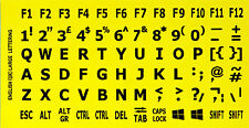 ENGLISH UK KEYBOARD STICKERS CAPITAL LARGE BIG LETTERS BLACK ON YELLOW