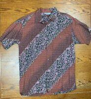 Vintage 90s Keris Fashion Paisley All Over Print Button Up Shirt Sz M Beach