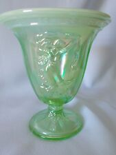 Fenton Art Glass Green/VASELINE Opal DANCING LADIES Comport Vase