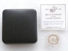 1995 united nations PIEDFORT 2 £ deux livres Silver Proof Coin Box COA