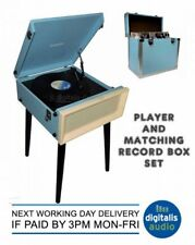 Record Player and Storage Box Steepletone Blue SRP1R 16 and SRB2 Vinyl Set New